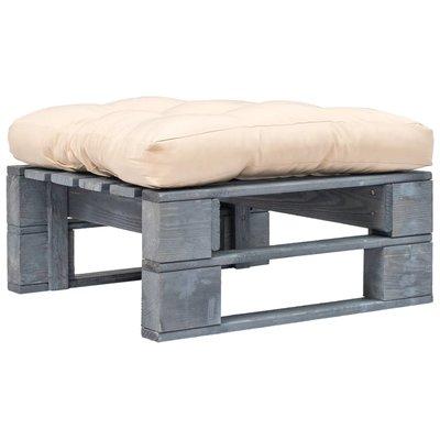 Tuinpoef met zandkleurig kussen pallet hout grijs