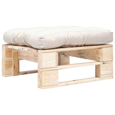 Tuinpoef met zandkleurig kussen pallet hout naturel