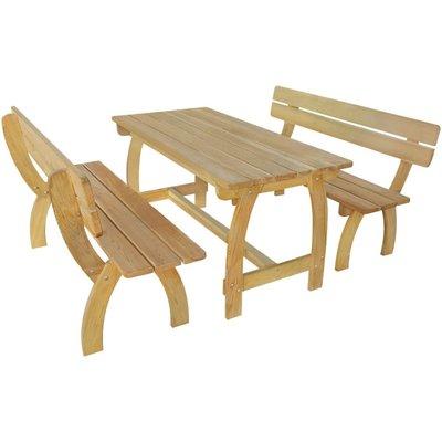 Biertafel met 2 banken geïmpregneerd grenenhout