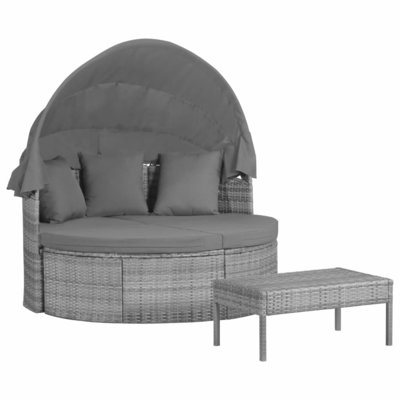 3-delige Loungeset met kussens poly rattan grijs
