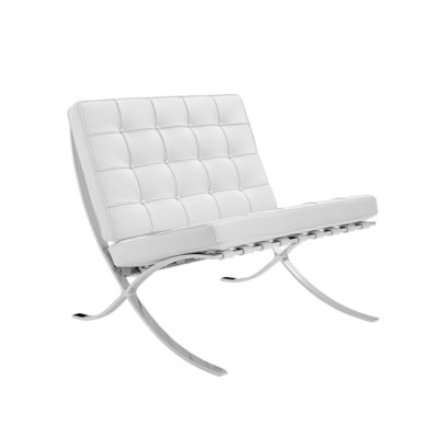 Barcelona Chair Splitleder Wit