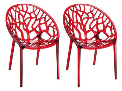 2er SET stapelstoel Crastil Rood