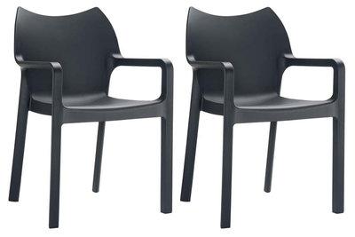 2er SET stapelstoel Davi Zwart