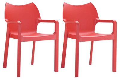 2er SET stapelstoel Davi Rood