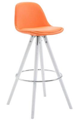 Barkruk Frinklan Rond frame Volledig Bekleed Kunstleer Oranje,Wit (eiche)