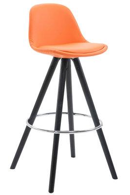 Barkruk Frinklan Rond frame Volledig Bekleed Kunstleer Oranje,Zwart (eiche)