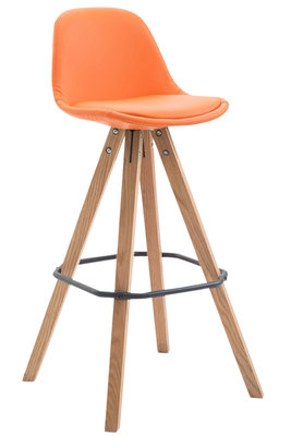 Barkruk Frinklan Volledig Bekleed Kunstleder vierkant frame Oranje,natura (eiche)