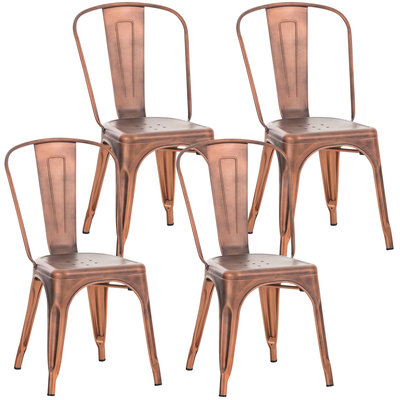 Set van 4 Binedekt stoelen kupfer,