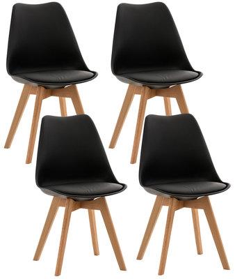 Set van 4 eetkamerstoelen Lenaris Zwart,Kunststoff