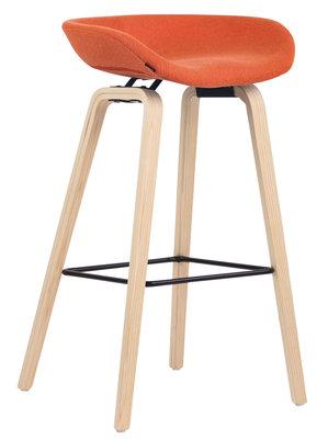 Barkruk Inehaam vilt Oranje,natura (eiche)