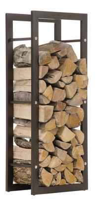 Brandhoutstandaard Kire in matzwarte look 25x60x150 cm, Zwart