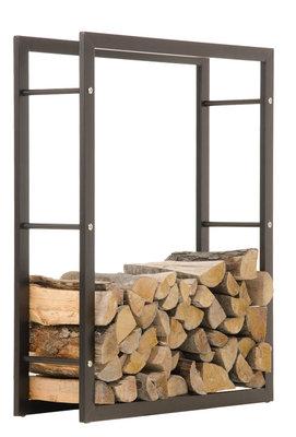 Brandhoutstandaard Kire in matzwarte look 25x80x150 cm, Zwart