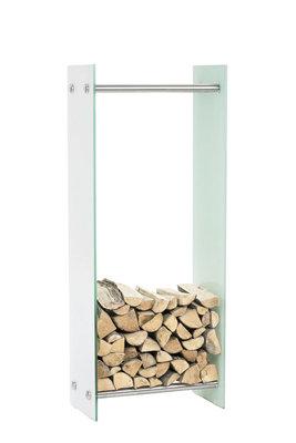 Brandhoutrek Docia wit glas 35x40x100 cm, Wit