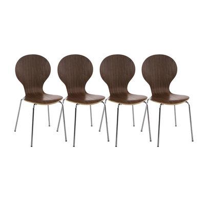 Set van 4 stapelstoelen Doegi walnuss,