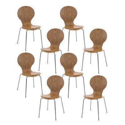 Set van 8 stapelstoelen Doegi eiche,