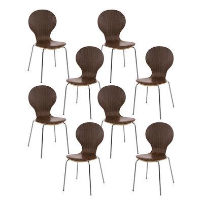 Set van 8 stapelstoelen Doegi walnuss,