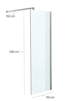 Luxe design douchewand NANO van echt glas (vierkant) klarglas,110x200x150 cm,