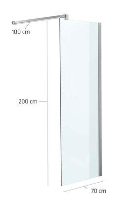 Luxe design douchewand NANO van echt glas (vierkant) klarglas,70x200x100 cm,