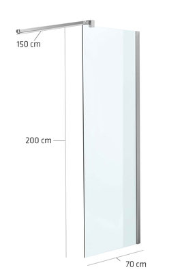 Luxe design douchewand NANO van echt glas (vierkant) klarglas,70x200x150 cm,