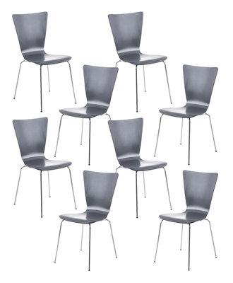 8x bezoekersstoel Oaran Grijs