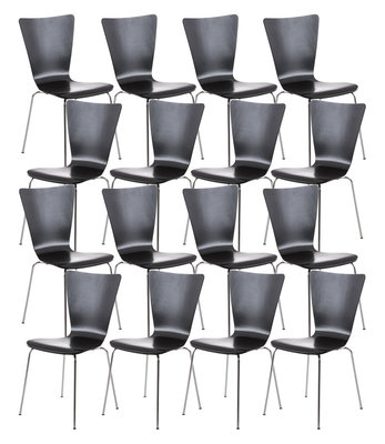 16x bezoekersstoel Oaran Zwart