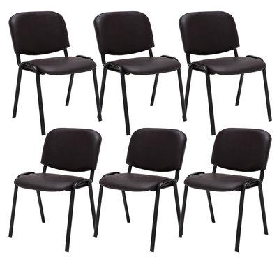 Set van 6 Bezoekersstoel Kin stof Bruin