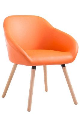 Bezoekersstoel Humbarg, kunstleer Oranje,natura