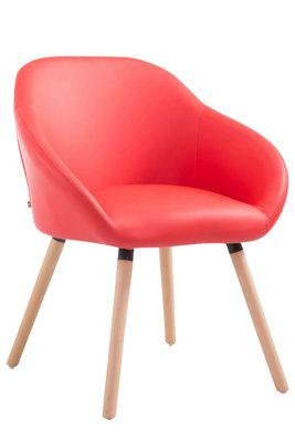 Bezoekersstoel Humbarg, kunstleer Rood,natura