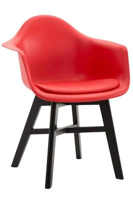 Bezoekersstoel Cilgira Kunstleder Rood,Zwart