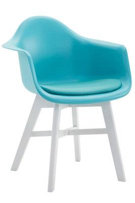 Bezoekersstoel Cilgira Kunstleder Blauw,Wit