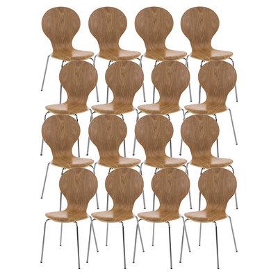 Set van 16 stapelstoelen Doegi eiche,