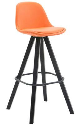 Barkruk Frinklan Volledig Bekleed Kunstleder vierkant frame Oranje,Zwart (eiche)