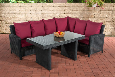 Lounge Dining Set Menire 5mm Zwart,rubinRood