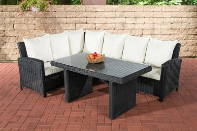Lounge Dining Set Bormee 5mm Zwart,CremeWit