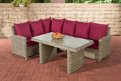 Lounge Dining Set Bormee 5mm natura,rubinRood