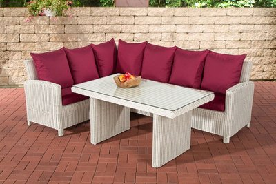 Lounge Dining Set Bormee 5mm perlWit,rubinRood