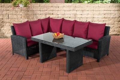 Lounge Dining Set Bormee 5mm Zwart,rubinRood