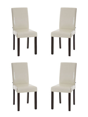 Set van 4 eetkamerstoelen Ina donkerbruin Creme