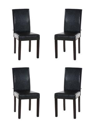 Set van 4 eetkamerstoelen Ina donkerbruin Bruin