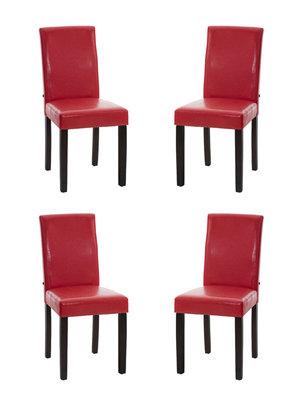 Set van 4 eetkamerstoelen Ina donkerbruin Rood