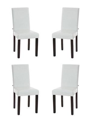 Set van 4 eetkamerstoelen Ina donkerbruin Wit