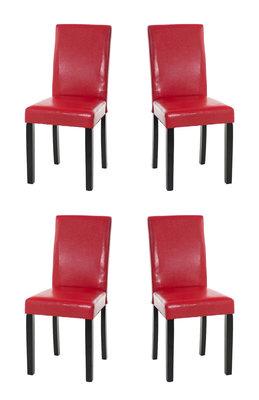 Set van 4 eetkamerstoelen Ani  Zwart Rood