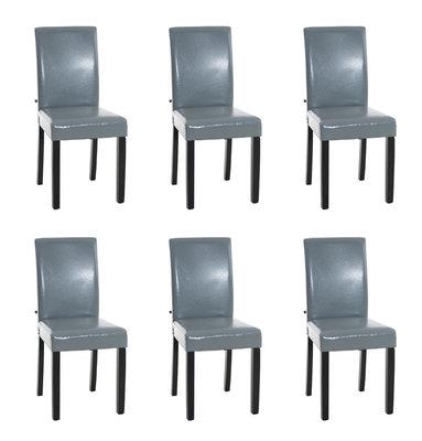 Set van 6 eetkamerstoelen Ani Zwart Grijs