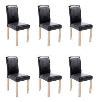 Set van 6 eetkamerstoelen Ani Kunstleer Zwart