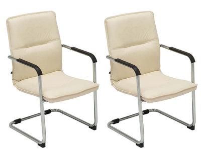 Set van 2 bezoekersstoelen Siittli kunstleer Creme