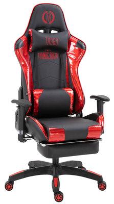 Racing bureaustoel XL Torbu met voetsteun Zwart/Rood,Kunstleder (metallic)