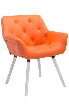 Eetkamerstoel Cissady Kunstleer Oranje,Wit (eiche)