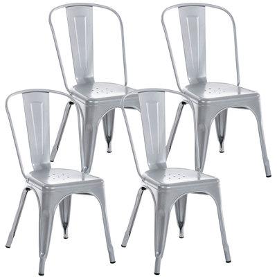 Set van 4 Binedekt stoelen silber,