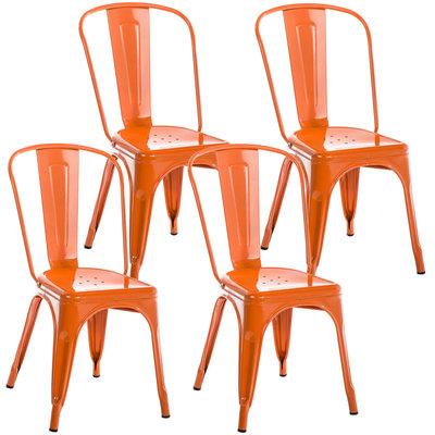 Set van 4 Binedekt stoelen Oranje