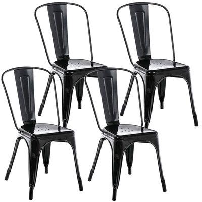 Set van 4 Binedekt stoelen Zwart